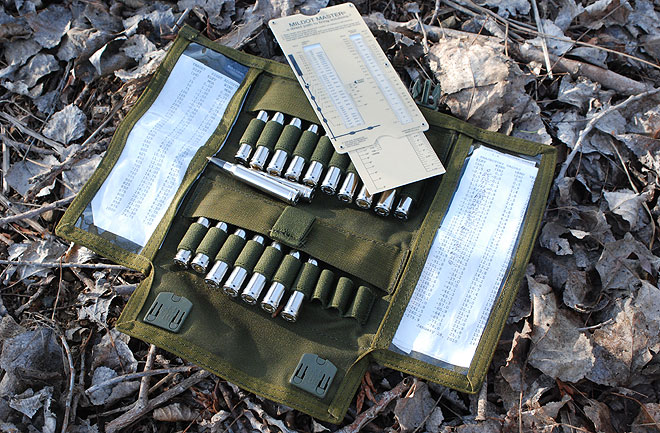 BLACKHAWK!®'s Pro Marksman Folding Ammo Pouch with two windows for checking your dope before your shot, along with the sliderule style Mildot Master.